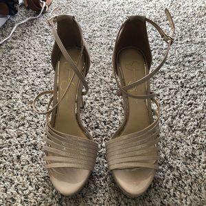 Jessica Simpson strappy platform heels